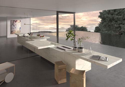 cocina moderna / de piedra / de acero inoxidable / de melamina