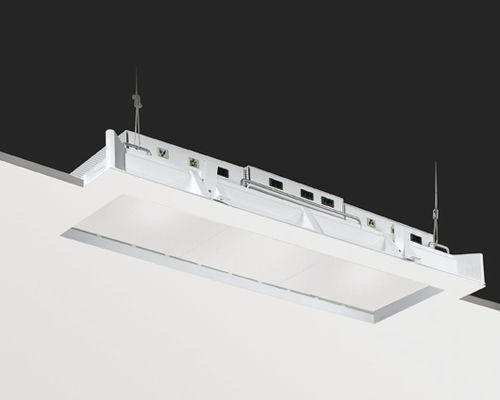 luminaria empotrable de techo / fluorescente compacta / lineal / de vidrio deslustrado