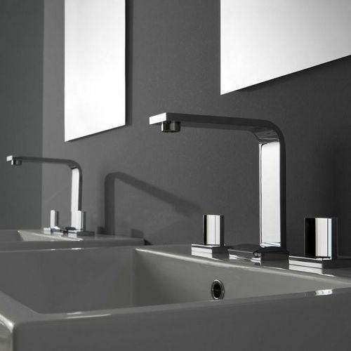 grifo mezclador para lavabo / de pared / de níquel / de metal cromado