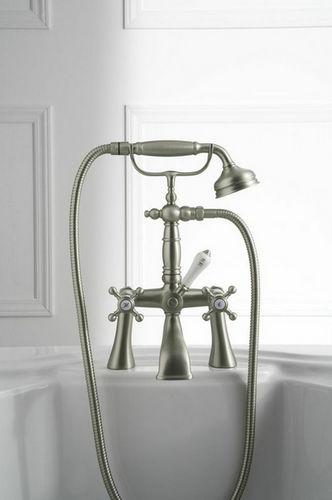 grifo mezclador para bañera / en encimera / de níquel / de metal cromado