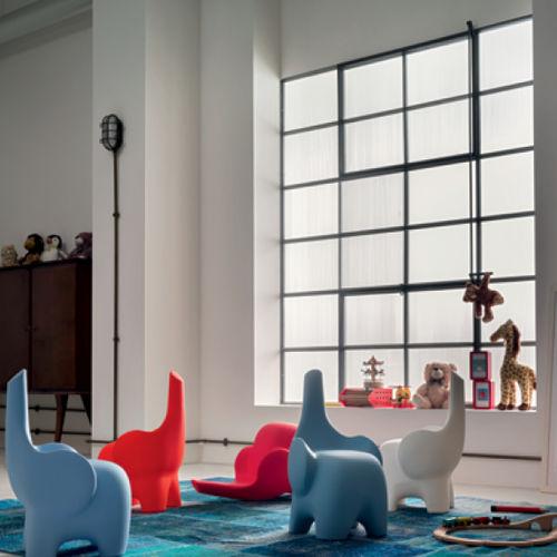 taburete de diseño original / de plástico / para niños / azul