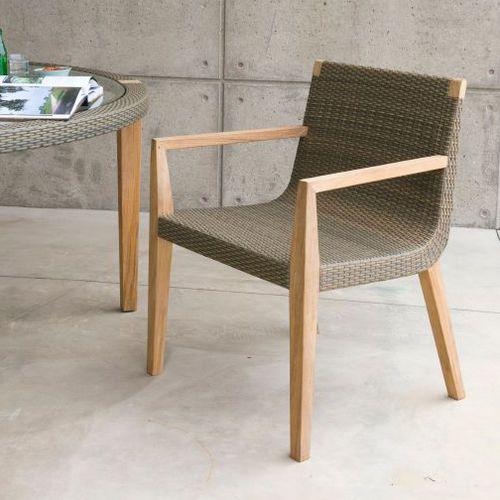 sillón de visita moderno / de teca / blanco / de exterior