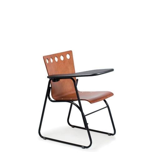 silla de conferencia apilable / con mesita / patín / de metal