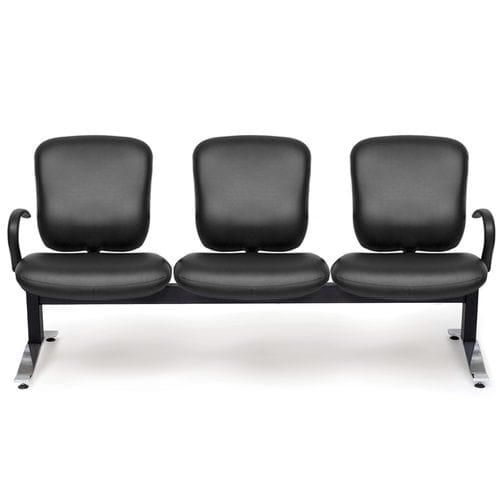hilera de sillas de metal / de cuero / 3 plazas / de interior