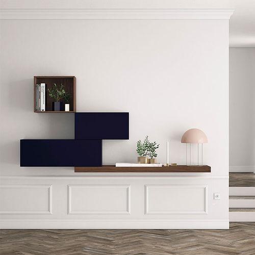 Mueble de salón moderno / de madera lacada / de nogal FRENTES : R04 VIVE - MUEBLES VERGE S.L.