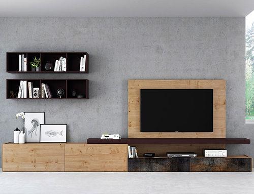 Mueble TV moderno / de madera lacada / de roble / con altavoces de alta fidelidad FRENTES : TV02 VIVE - MUEBLES VERGE S.L.