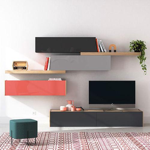 mueble TV moderno / de vidrio lacado
