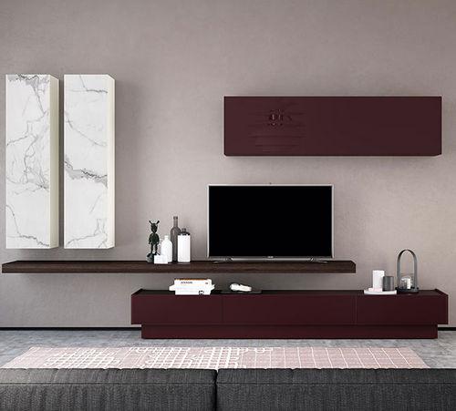 Mueble TV moderno / de vidrio lacado FRENTES : TV08 VIVE - MUEBLES VERGE S.L.