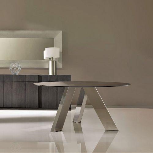 mesa de comedor moderna / de vidrio templado / de acero inoxidable / redonda