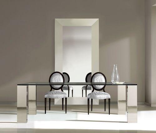 mesa de comedor moderna / de vidrio templado / de acero inoxidable / rectangular