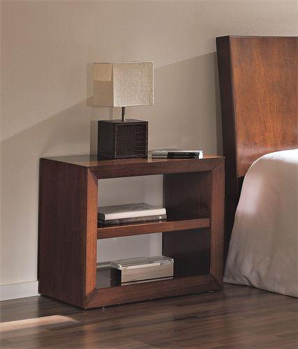 mesilla de noche moderna / de madera / rectangular / con almacenamiento