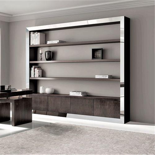 biblioteca moderna / para oficina / de nogal
