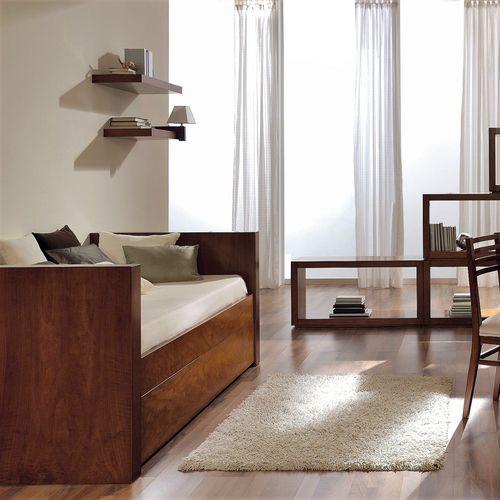 cama estándar / de soltero / moderna / de nogal