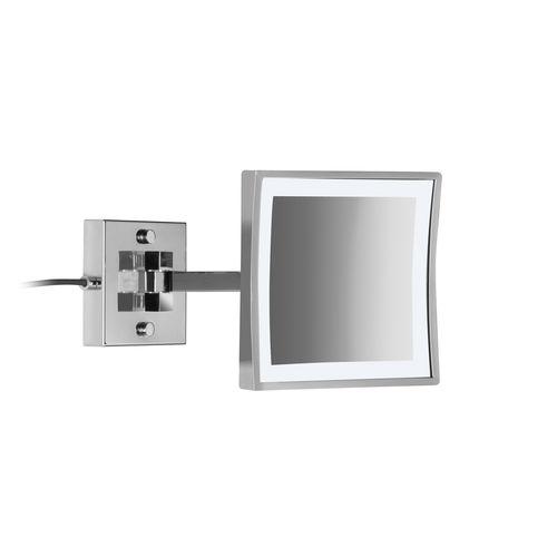 espejo para baño de pared / con luz LED / de aumento / moderno