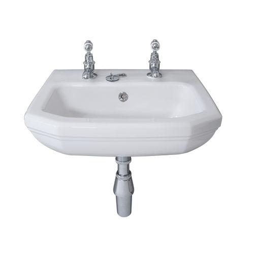 lavamanos suspendido / rectangular / de porcelana