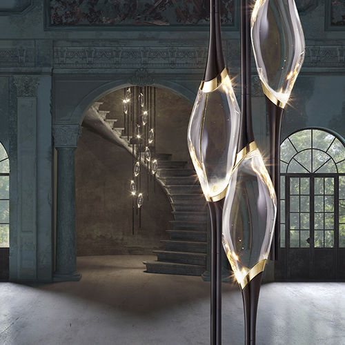 lámpara araña de diseño original / de cristal / de latón / de latón chapado en oro
