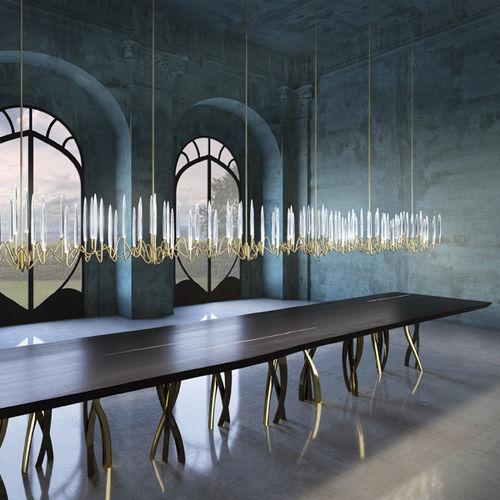 lámpara araña de diseño original / de cristal / de latón / de níquel