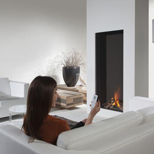 chimenea de gas / moderna / hogar cerrado / encastrable