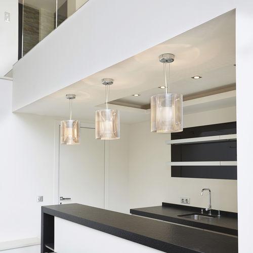 lámpara suspendida / moderna / de acero inoxidable pulido / LED