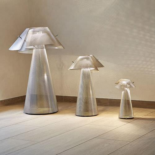 lámpara de pie / moderna / de acero inoxidable pulido / halógena