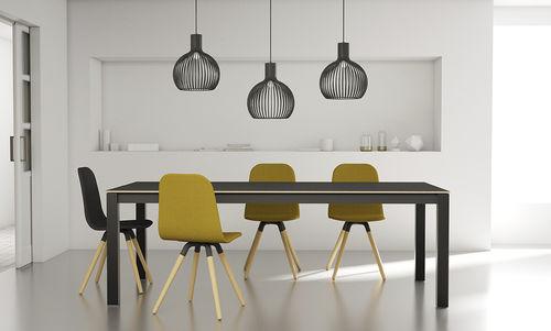 mesa moderna / de vidrio / de acero lacado / rectangular