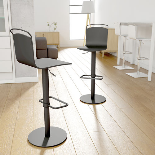 silla de bar moderna / con reposapiés / con base central / ajustable