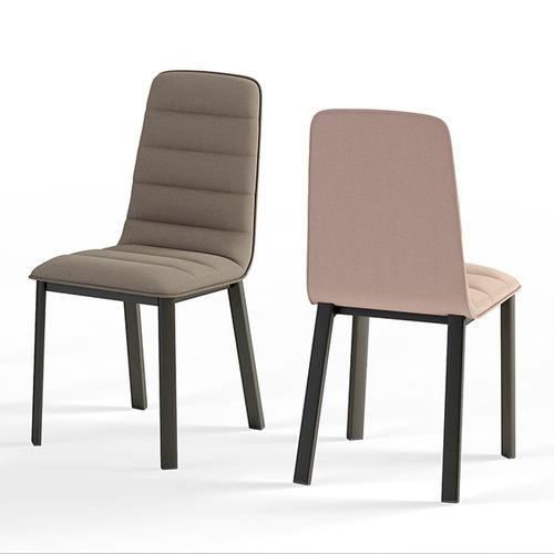 silla moderna / tapizada / de tejido / de acero lacado