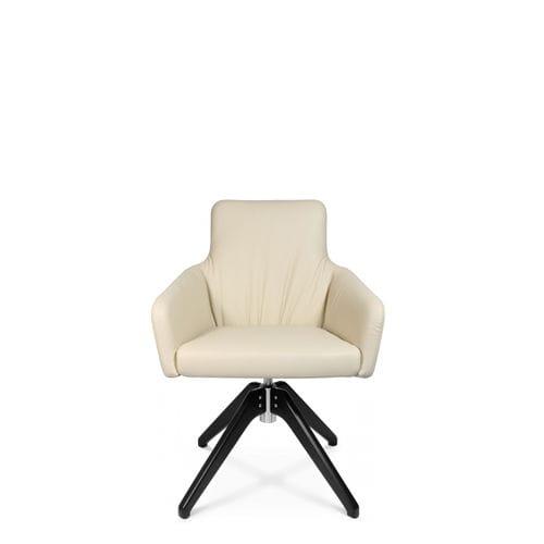 sillón de visita moderno / de cuero / con reposabrazos / tapizado