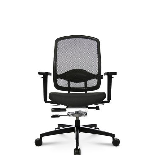 sillón de oficina moderno / en malla / de cuero / de aluminio