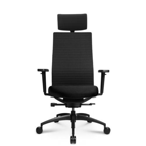 sillón de oficina moderno / de cuero / con ruedas / con patas en forma de estrella