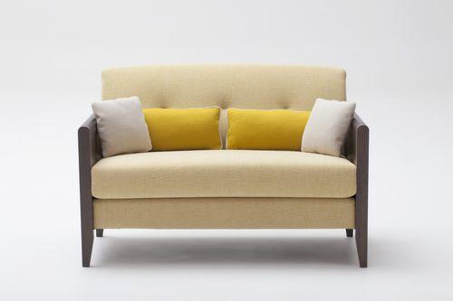 sofá moderno / de cuero / de haya / 2 plazas