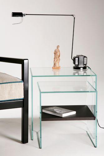 mesa nido moderna / de vidrio / de roble / rectangular