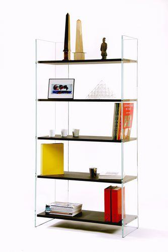 biblioteca moderna / de roble / cara de vidrio templado