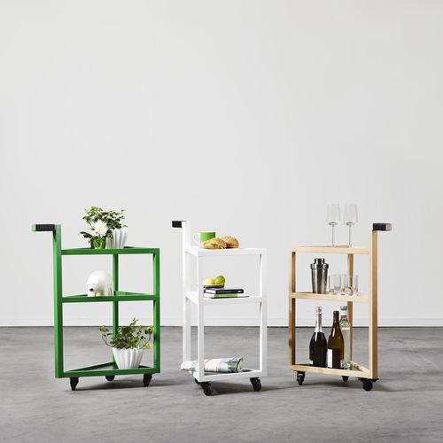 Mesa carrito de servicio / de vidrio / de roble / para uso residencial MOVE by Sara Larsson A 2 designers