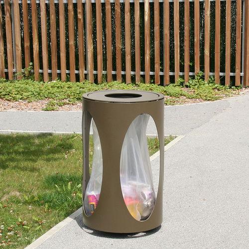 cubo de basura público / de chapa de acero / con cenicero integrado / antiterrorismo
