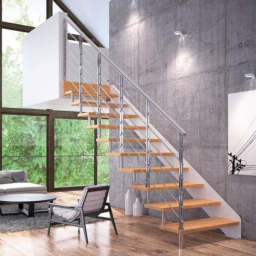 escalera recta / en L / estructura de acero / con peldaños de madera