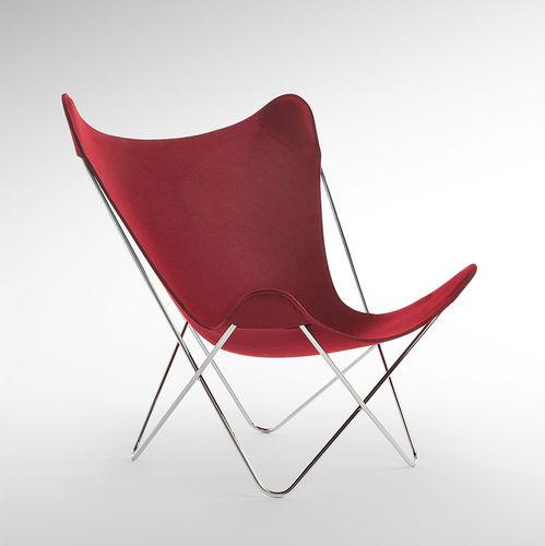 silla de jardín moderna / de acero / de tejido / roja