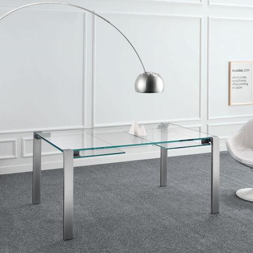 mesa moderna / de vidrio / de metal / de cuero