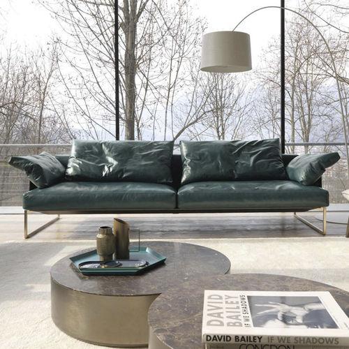 sofá moderno / de tejido / de cuero / 2 plazas