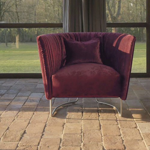 sillón moderno / de tejido / de metal / rojo