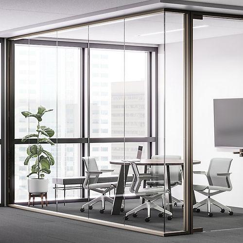 tabique fijo / de vidrio / para oficina / acústico
