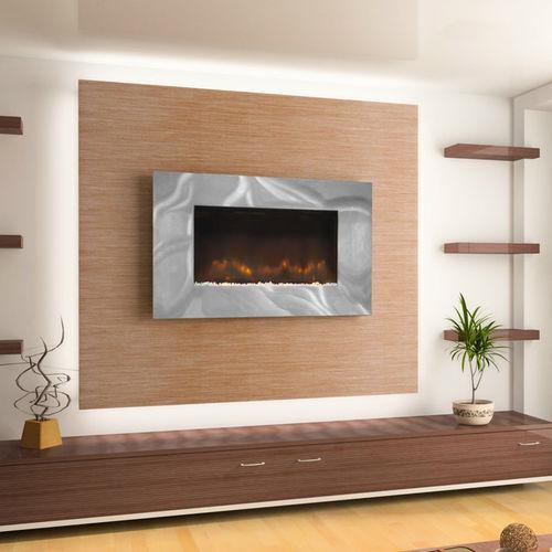 chimenea eléctrica / moderna / hogar cerrado / de pared