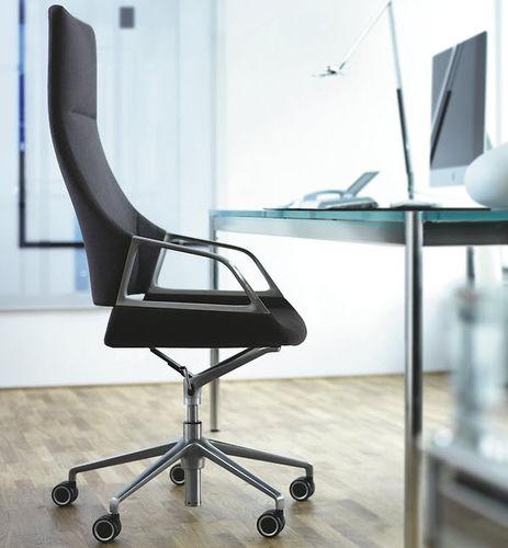 sillón de oficina moderno / de tejido / de cuero / de metal cromado