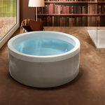 bañera independiente / redonda / de fibra acrílica / hidromasaje