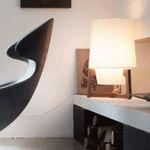 lámpara de mesa / moderna / de roble / de nogal