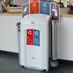cubo de basura público / de plástico reciclado / para espacio público / moderno