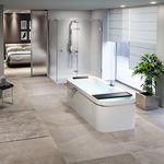 bañera independiente / ovalada / de fibra acrílica