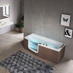 bañera independiente / de madera / de fibra acrílica / hidromasaje