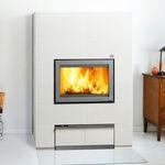 estufa-caldera de leña / moderna / de piedra