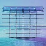 escritorio de aluminio pulido / de vidrio / de diseño original / para el sector servicios